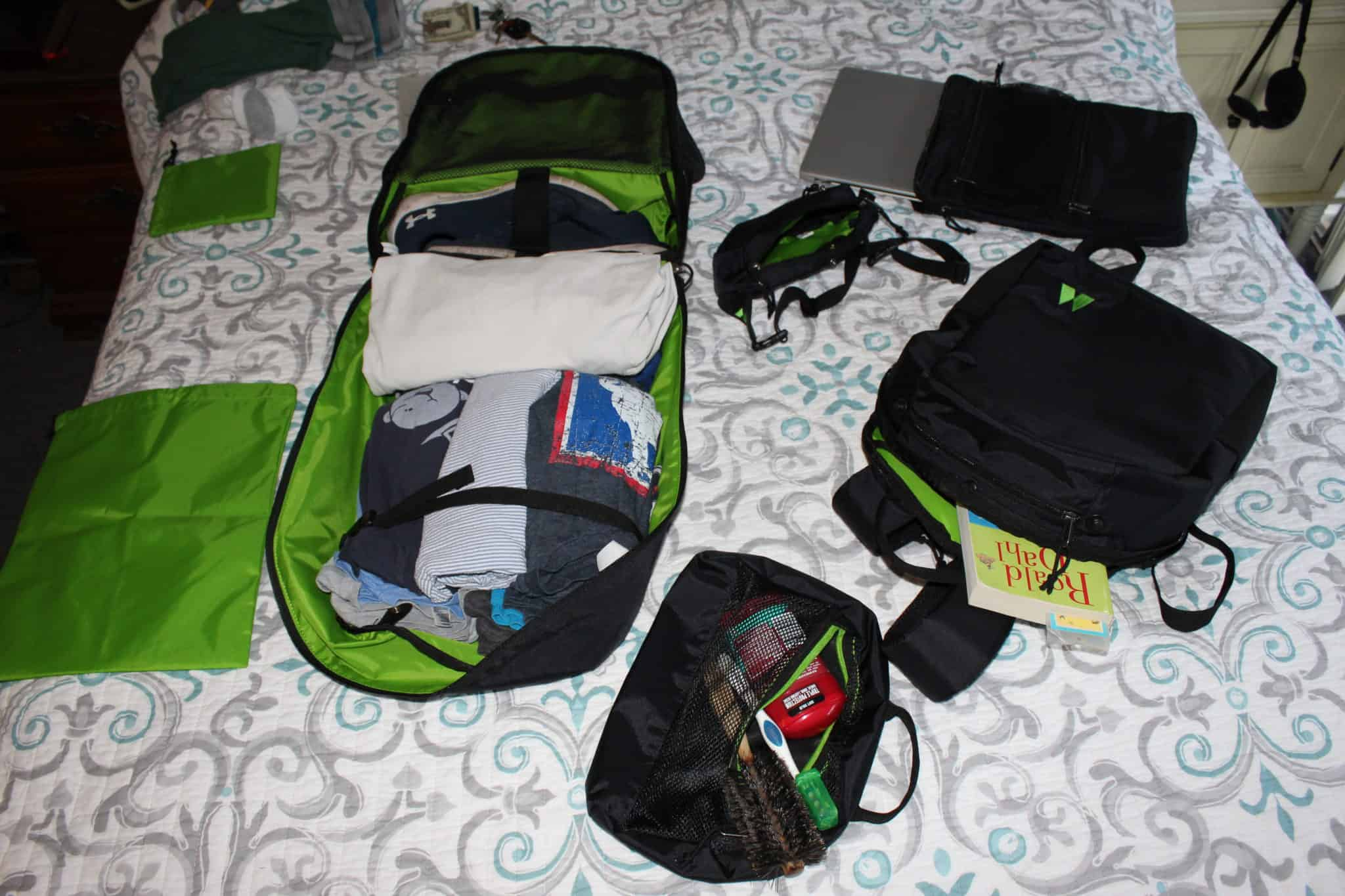 Packing up the 5 compartments of the Journey System Minimalist Travel Bag