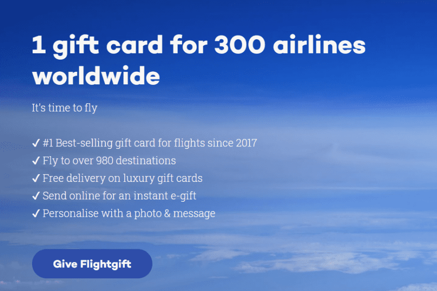 Flightgift.com gift cards are perfect gifts for your lady who loves to travel