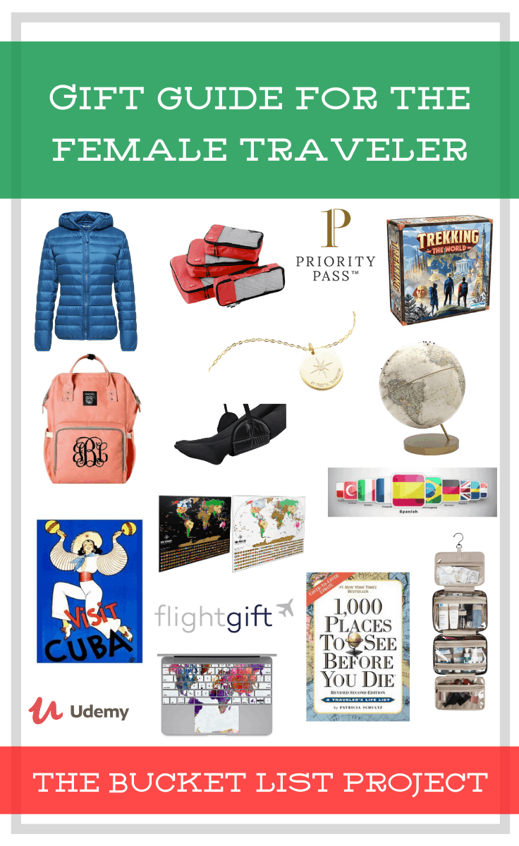 Pinterest Picture of the Gift Guide for the Female Traveler from the Bucket List Project