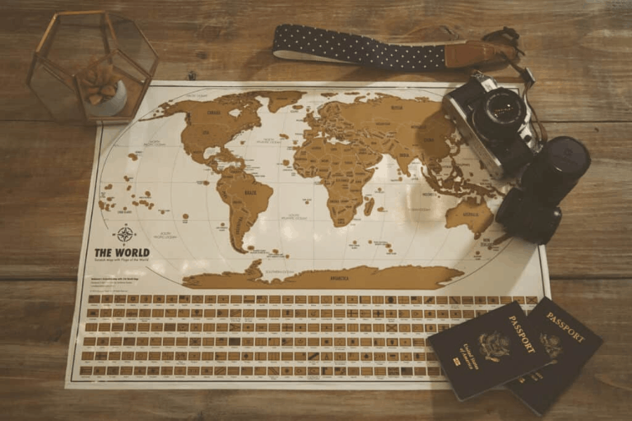 Travel tracker scratch off maps from Landmass are amazing travel gifts for women