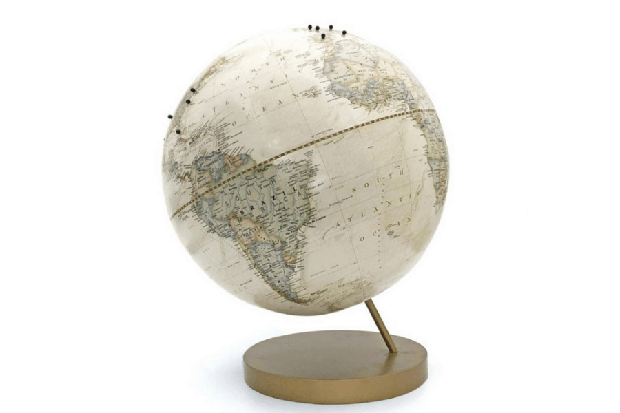 Custom Ivory Push Pin Globe is a beautiful gift for your lady who loves to travel