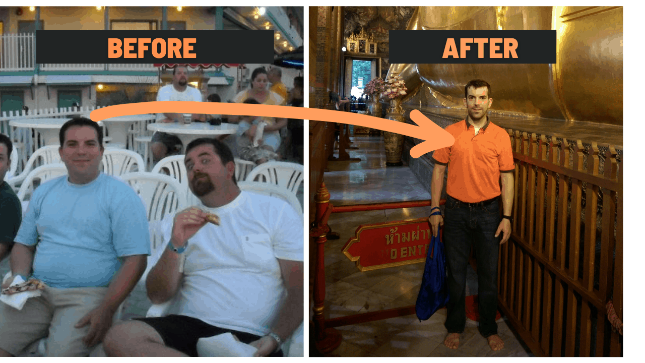 Eric Gamble in a before picture really fat and an after picture quite thin