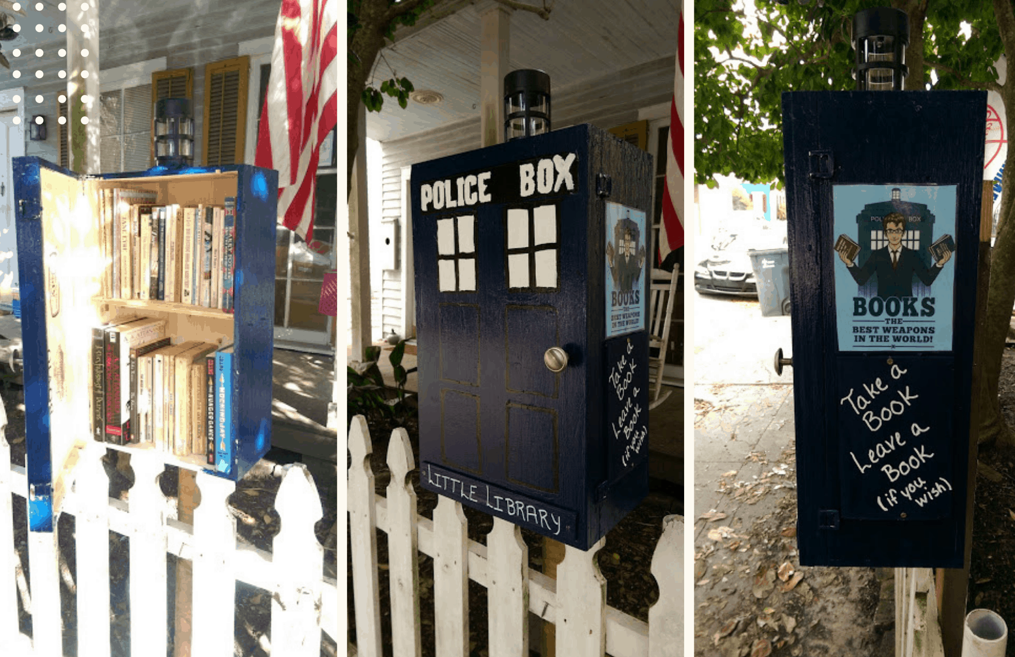 A Tardis style Little Library that leaked and ultimately broke
